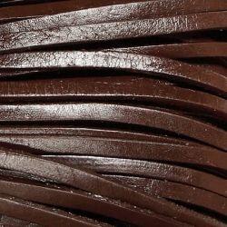 Тъмно кафяв кожен шнур 4 мм (1м)