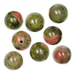 Полускъпоценни камъни - кръгло мънисто от зелен унакит 10мм (8бр)