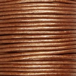 Кожен шнур металик, цвят мед 2мм ( 1м)
