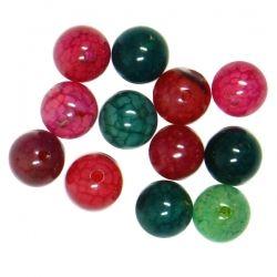 Полускъпоценни камъни - кръгло мънисто от зелен кварц микс 6мм (12бр)